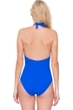 Gottex Divine Royal Blue V-Neck Halter One Piece Swimsuit