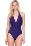 Gottex Divine Deep Purple V-Neck Halter One Piece Swimsuit