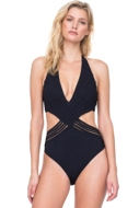 Gottex Divine Black Deep Plunge Halter Cut Out Monokini One Piece Swimsuit