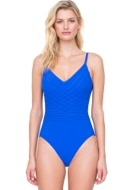 Gottex Divine Royal Blue V-Neck Lingerie One Piece Swimsuit