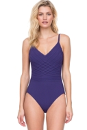 Gottex Divine Deep Purple V-Neck Lingerie One Piece Swimsuit