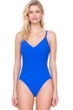 Full Coverage Gottex Divine Royal Blue V-Neck Lingerie High Back One Piece Swimsuit