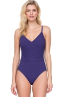 Full Coverage Gottex Divine Deep Purple V-Neck Lingerie High Back One Piece Swimsuit