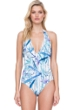 Gottex Exotic Paradise Blue V-Neck Halter One Piece Swimsuit