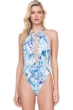 Gottex Exotic Paradise Blue Deep Plunge Halter Cut Out Monokini One Piece Swimsuit