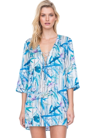Gottex Exotic Paradise Blue Lace Front V-Neck Tunic