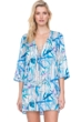 Gottex Exotic Paradise Blue Lace Front V-Neck Tunic