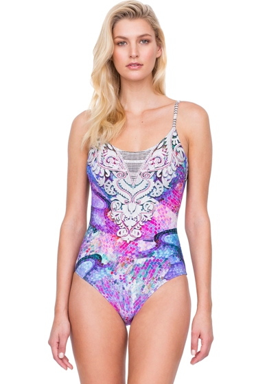 Gottex Felicity Purple Underwire D-Cup Round Neck One Piece Swimsuit