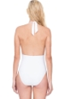 Gottex Finesse White Deep Plunge Halter One Piece Swimsuit