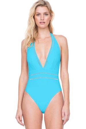 Gottex Finesse Aqua Deep Plunge Halter One Piece Swimsuit