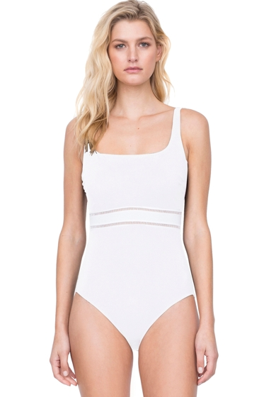 Gottex Finesse White Square Neck One Piece Swimsuit