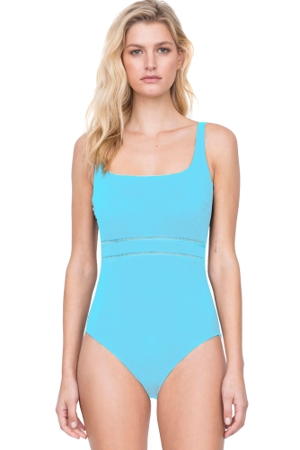 Gottex Finesse Aqua Square Neck One Piece Swimsuit