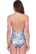 Gottex Himiko Queen of Japan Blue and Silver Deep Plunge Halter One Piece Swimsuit
