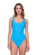 Gottex Jazz Turquoise Textured Scoop Neck High Leg Underwire One Piece Swimsuit