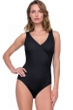 Gottex Jazz Black Textured Mock Surplice One Piece Swimsuit