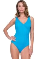 Gottex Jazz Turquoise Textured Mock Surplice One Piece Swimsuit