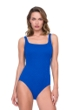 Full Coverage Gottex Jazz Sapphire Textured Square Neck High Back One Piece Swimsuit