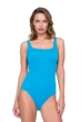 Full Coverage Gottex Jazz Turquoise Textured Square Neck High Back One Piece Swimsuit