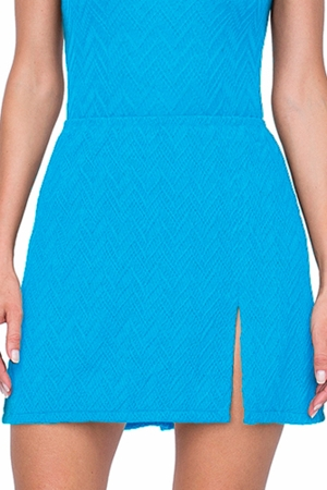 Gottex Jazz Turquoise Textured Cover Up Side Slit Skirt