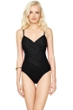 Gottex Lattice Black V-Neck One Piece Swimsuit
