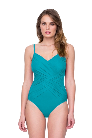 Gottex Lattice Peacock V-Neck One Piece Swimsuit