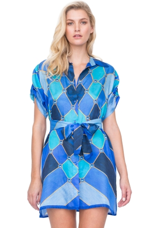 Gottex Mystic Gem Tie Front Blouse Dress
