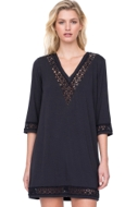 Gottex Prism Black Laser Cut V-Neck Tunic