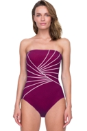 Gottex Sinatra Wine Bandeau Strapless One Piece Swimsuit