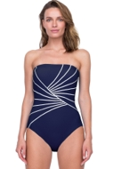 Gottex Sinatra Navy Bandeau Strapless One Piece Swimsuit