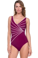 Gottex Sinatra Wine Mock Surplice One Piece Swimsuit