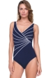 Full Coverage Gottex Sinatra Navy Mock Surplice High Back One Piece Swimsuit