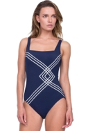 Gottex Sinatra Navy Square Neck One Piece Swimsuit