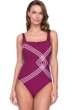 Full Coverage Gottex Sinatra Wine Square Neck High Back One Piece Swimsuit
