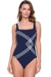 Full Coverage Gottex Sinatra Navy Square Neck High Back One Piece Swimsuit