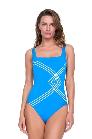 Gottex Sinatra Azure Square Neck High Back One Piece Swimsuit