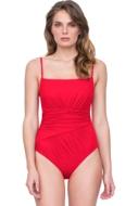 Gottex Vista Red Square Neck Lingerie Underwire One Piece Swimsuit