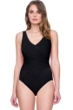 Gottex Vista Black V-Neck Shirred One Piece Swimsuit
