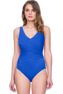 Gottex Vista Blue V-Neck Shirred One Piece Swimsuit