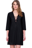 Gottex Vista Black Lace Front V-Neck Tunic