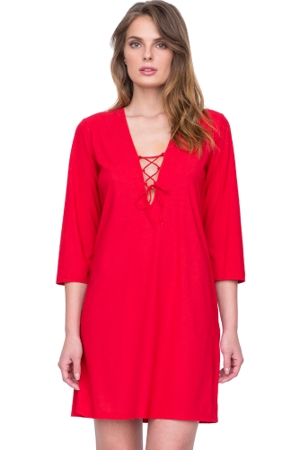 Gottex Vista Red Lace Front V-Neck Tunic