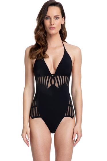 Gottex Couture Andromeda Black Mesh V-Neck Halter One Piece Swimsuit