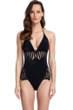 Gottex Couture Andromeda Black Mesh V-Neck Halter One Piece Swimsuit