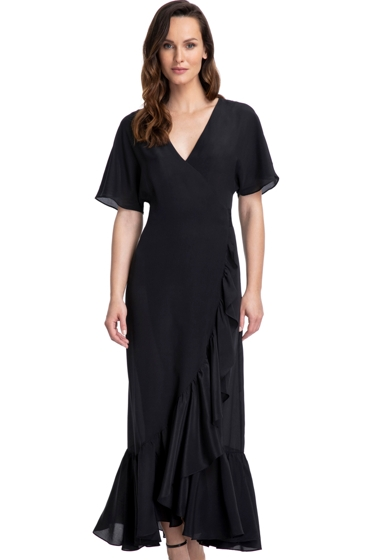 Gottex Couture Andromeda Black Long Ruffle Surplice Cover Up Dress