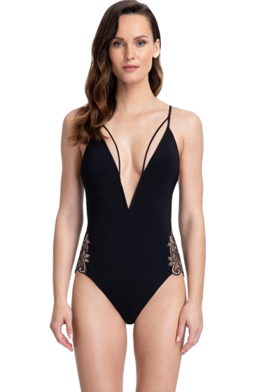 Gottex Couture Aquila Black and Brown V-Neck Halter One Piece Swimsuit