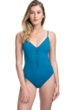 Gottex Collection Bardot Lagoon V-Neck One Piece Swimsuit