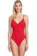 Gottex Collection Bardot Red V-Neck One Piece Swimsuit