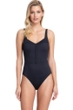 Full Coverage Gottex Collection Bardot Black Square Neck High Back One Piece Swimsuit