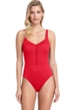 Full Coverage Gottex Collection Bardot Red Square Neck High Back One Piece Swimsuit