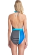 Gottex Classics Blue Lagoon Blue High Neck Halter High Leg One Piece Swimsuit