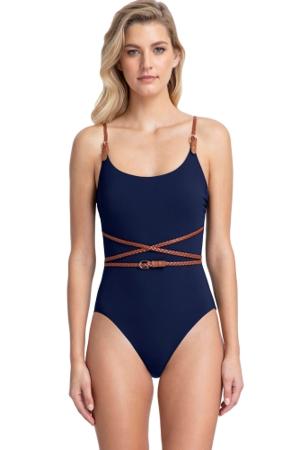Gottex Collection Blue Marine Navy Round Neck One Piece Swimsuit
